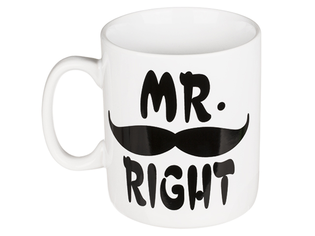 Veľký keramický hrnček s nápisom Mr. Right