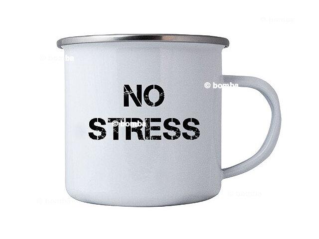 5368404935d4 Plechový hrnček s nápisom No stress